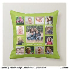 13 Family Photo Collage Create Your Own Lime Green Throw Pillow Family Photo Collages, Family Photos, Create Your Own, Create Yourself, Green Throw Pillows, Designer Throw Pillows, Artwork Design, Custom Pillows, Lime