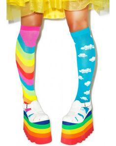 Cloudy Wid Rainbows Mismatch Socks | Dolls Kill