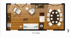 Apartment furniture layout room planner floor plans 21 ideas for 2019 Small Living Room Furniture, Living Room Flooring, Living Room Kitchen, Dining Room, Kitchen Dining, Kitchen Tips, Kitchen Cabinets, Dining Table, Apartment Furniture Layout