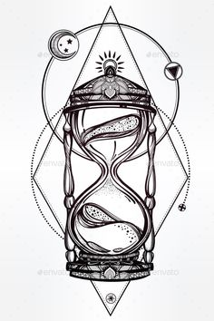 Hand Drawn Romantic Design Of a Hourglass. — JPG Image #style #traditional • Available here → https://graphicriver.net/item/hand-drawn-romantic-design-of-a-hourglass/13880520?ref=pxcr