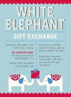 Elephant Swap - Flat Holiday Party Invitations in Peppermint or Autumn Orange | DwellStudio