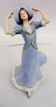 Art Deco Lady Royal Dux Porcelain Figurine.