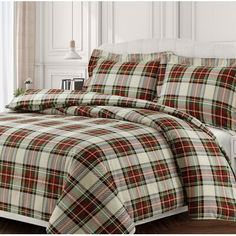 Invite a handsome surge of style into your sleep space with the Tribeca Living Charleston Duvet Cover Set. Cast in a brushed cotton flannel, a classic plaid print made up of red, green and yellow hues brings bold style to any bedroom. King Duvet, Queen Duvet, Duvet Sets, Duvet Cover Sets, Plaid Bedding, Green Duvet Covers, Pastel Room, Luxury Bedding Collections, Bedroom Decor