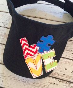 Monogrammed Raggy Patch Visors - Autism Awareness