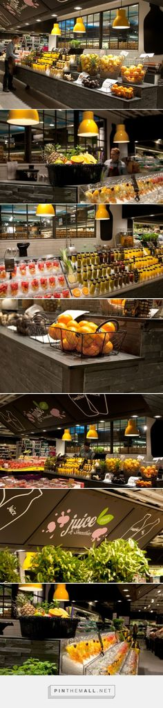 Ica liljeholmen – juice & smoothie bar by idei concepts ab, stockholm – sweden Cafe Bar, Cafe Shop, Restaurant Bar, Restaurant Design, Smoothie Bar, Bar Displays, Fruit Displays, Store Displays, Burger Bar
