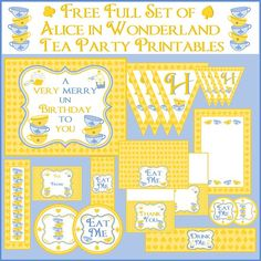 Free Alice in Wonderland party printables #free @aliceinwonderland #party #birthday #printables