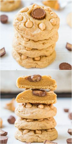 Soft Chewy Triple Peanut Butter Cookies - must make for Nathan! PB is used 3 ways in these melt-in-your mouth cookies! Batch size of just 8 cookies when you don't 'need' dozens laying around! Cookie Desserts, Just Desserts, Cookie Recipes, Delicious Desserts, Dessert Recipes, Yummy Food, Tasty, Yummy Cookies, Yummy Treats