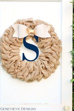 Monogram Spring Wreath, Elegant Spring Decorations, Farmhouse Decor, Burlap Wreath, Spring wreaths for front door wreaths with initial
