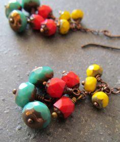 Succotash: Handmade Southwestern Earrings, Czech Beads, Antiqued Copper Dangles by PapillonDaze