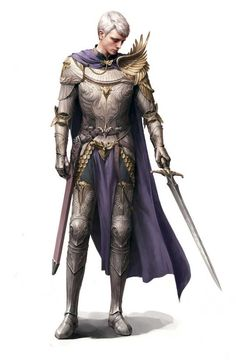 Siwoo Kim human male paladin / fighter / knight in armour with gold accents sword fighter character inspiration for fantasy RPG like DnD or Pathfinder Fantasy Male, Fantasy Armor, Medieval Fantasy, D D Characters, Fantasy Characters, Fantasy Inspiration, Character Design Inspiration, White Armor, Character Concept