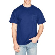 Hanes Men's Beefy-T Short Sleeve Tee with Pocket, Size: Large, Blue