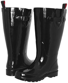 Capelli New York Ladies Shiny Tall Rubber Rain Boot Black 9 -- Continue to the product at the image link.
