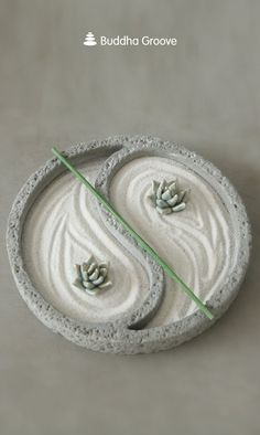 Yin Yang Zen Garden with Ceramic Succulents