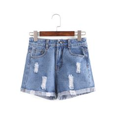 SheIn(sheinside) Distressed Rolled Hem Blue Denim Shorts (€11) ❤ liked on Polyvore featuring shorts, blue, jean shorts, denim short shorts, destroyed denim shorts, distressed shorts and blue jean shorts