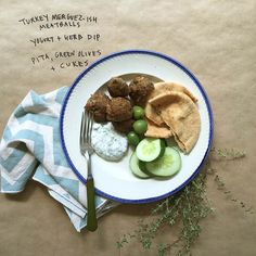 Turkey Merguez-ish Meatballs Yogurt + Herb Dip Whole Wheat Pita, Olives + Sliced Cucumbers Lunches And Dinners, Meals, Lunch Recipes, Healthy Recipes, Whole Wheat Pita, Small Victories, Wonderful Recipe, Whole 30 Recipes, Healthy Eating
