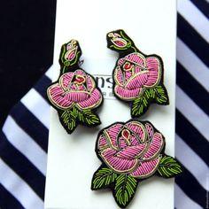 """Броши ручной работы. Ярмарка Мастеров - ручная работа. Купить Комплект """"Роза"""" ручная вышивка .. Handmade. Разноцветный, брошь купить"""