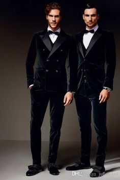 2017 New 100% Cotton Black Velvet Tuxedos British style Custom Made Mens Suit Slim Fit Blazer Wedding suits for men(suit+pant+bow tie)