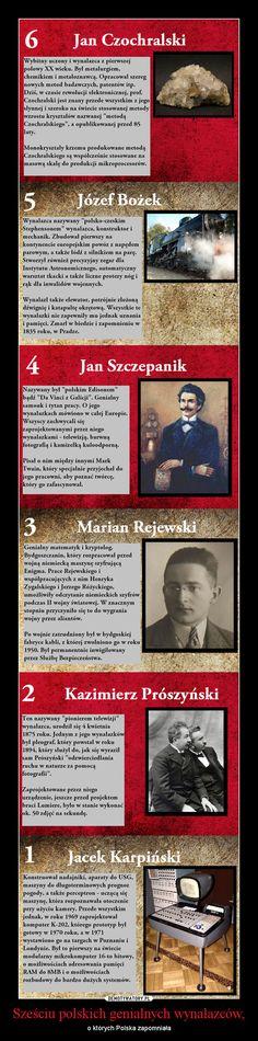 Six great inventors/ innovators: Jan Czochralski (chemistry), Józef Bożek (Polish Stephenson), Jan Szczepanik (Polish Edison), Marian Rejewski, Kazimierz Prószyński (tv pioneer), Jacek Karpiński (computer pioneer). #technology #science