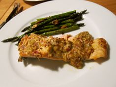 Mustard-coated oven-roated salmon