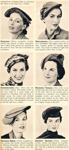 Make your own Lilly Dache circle hat (circa 1953)! Free pattern. Yes, these are all made from the same pattern! Thanks, What-I-Found!