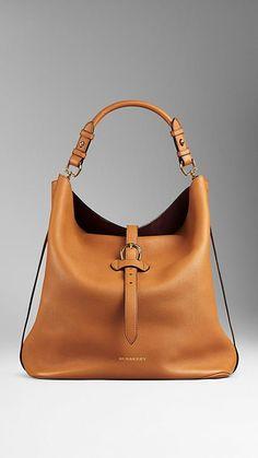 Cognac Large Buckle Detail Leather Hobo Bag - Image 1