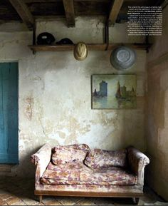 Rustic French Country living room Cote Sud home decor magazine from France