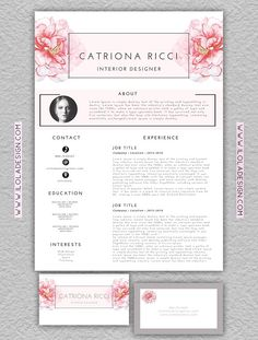 Floral Resume Template/Business Card by iloladesign on Graphics Author ---CLICK IMAGE FOR MORE--- resume how to write a resume resume tips resume examples for student Best Resume Template, Resume Design Template, Resume Template Free, Creative Resume Templates, Graphic Design Resume, Cv Design, Beau Cv, Portfolio Resume, Portfolio Web