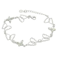 Sterling Silver Rhodium Plated Cubic Zirconia Open Butterfly Bracelet, 6 1.5' Ext -- Remarkable product available now. : Fashion Jewelry