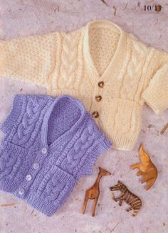 Cabled Waistcoat & Cardigan Knit Pattern for Baby. Stunning and warm little cardigan and waistcoat to make with pockets and a cables and texture stitch. Pattern Pages: 1, 2