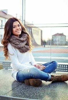 Fall Outfit With Scarf and Brown Boots.
