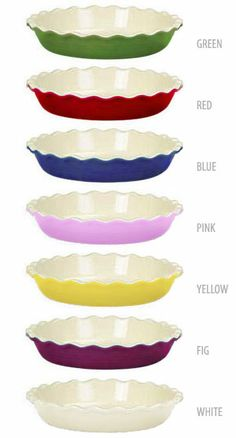 Emile Henry     love them!  Say goodbye to glass pie plates after using these!