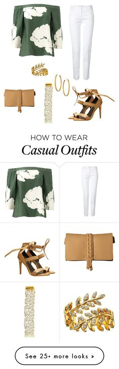 """""""Green top - Casual"""" by brittjade on Polyvore featuring Ivanka Trump, TIBI, Emilio Pucci, Gorjana and Julie Vos"""