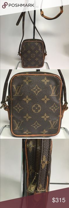 """% Authentic Louis Vuitton Mini Crossbody Bag % Authentic LOUIS VUITTON Mini Shoulder Crossbody Bag in monogram . This vintage Crossbody bag is really in excellent condition with clean interior and out. All leather and original shoulder pad are in excellent condition.   Measurements: W4.3"""" * H5.5"""" * D1.4""""  Authenticity Guaranteed Louis Vuitton Bags Crossbody Bags"""