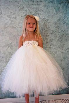 Free Shipping to US Ivory White Cream Flower Girl by PoshPixieTutu, $65.00