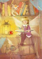 Babok Russian modern postcard Little girl Kitten Fairy Reading book Mouse Lamp