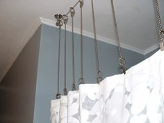 shower curtain rod with chains instead? After: Bathroom with gray walls, custom curtain hardware and custom shower curtain Shower Rods, Diy Shower, Shower Ideas, Shower Stalls, Rustic Shower, Diy Curtain Rods, Shower Curtain Rods, Curtain Ideas, Curtain Wire