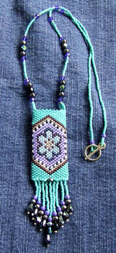 Turquoise and Purple Wishbag / Amulet Bag with Crystal Fringe and Hematite Beads