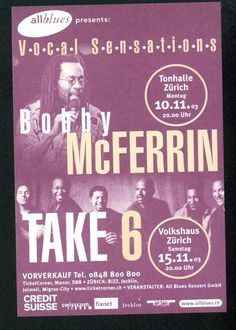 BOBBY MCFERRIN - TAKE 6 - ZÜRICH - 2003 - ORIGINAL FLYER