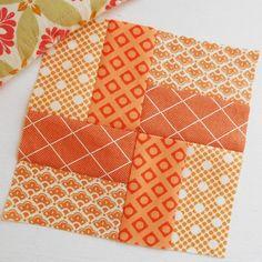 Block 158 - Southwick Village. Absolutely adore this 'brick path' block. I used two charm squares and some scraps. (