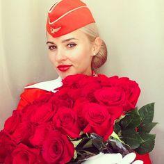 Aeroflot stewardess crewfie