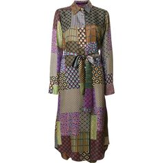 Maurizio Pecoraro patchwork print shirt dress ($1,121) ❤ liked on Polyvore featuring dresses, multi colored dress, shirt dresses, scalloped hem dress, long silk shirt dress and multicolored dress