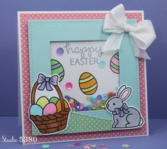 Lawn Fawn - Eggstra Special Easter + coordinating dies, Stitched Squares Stackables, Stitched Hillside Borders, Let's Polka, Mon Amie and Beachside 6x6 paper _ Sweet Easter Shaker card by Tanya via Flickr - Photo Sharing!