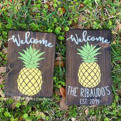 Pineapple Welcome Wood Sign 8x10 by TheBatteredBoard on Etsy
