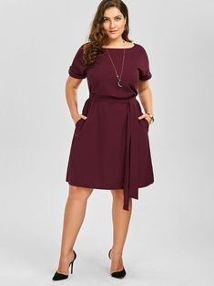 Plus Size Belted Knee Length Dress With Pockets Women Clothes Summer Sexy O Neck Dress Vintage Office Work Wear Plus Size Wedding Dresses With Sleeves, Plus Size Dresses, Plus Size Outfits, Dresses For Work, Summer Work Outfits Plus Size, Office Dresses For Women, Summer Outfits, Office Wear Plus Size, Plus Size Sundress