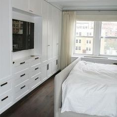TV Built Ins, Transitional, Bedroom, Curated