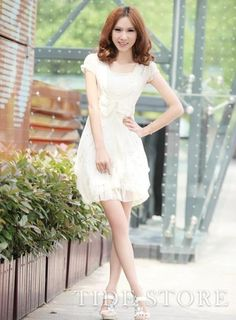 Casual New Summer Slim Bow Knot Short Sleeves  Gentlewomanly Fancy Chiffon Dress