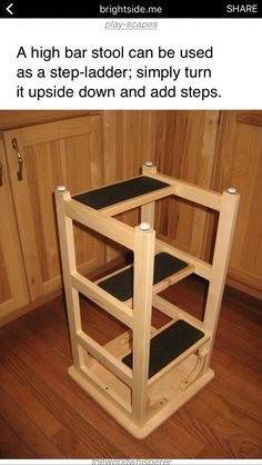 Great for the garage - sit for projects, use stool to reach stuff. A bar stool upside down with added steps.Stan's Hoosier Step Stool Furniture Projects, Home Projects, Diy Furniture, Modular Furniture, Furniture Showroom, Refurbished Furniture, Classic Furniture, Furniture Layout, Furniture Arrangement
