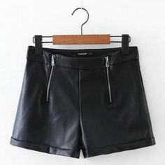 Faux Leather Shorts Zippers Internal And Velvet Casual Warm Brand