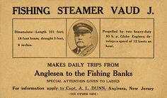 VAUD J Advertising Card, Anglesea, NJ – 1923 North Wildwood, Lobster Fishing, Deep Sea Fishing, Cape May, Ways To Travel, Train Station, Advertising, History, Cards