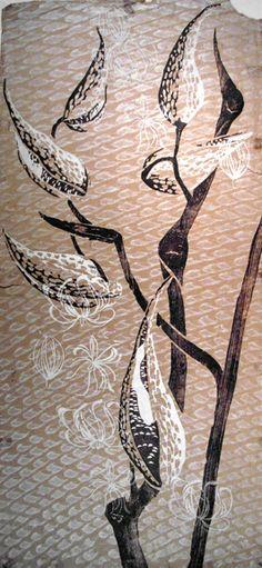 Milkweed -  Print of woodblock by Rachel Ellis Kaufman, Cape Cod artist 1912-2001 available at trurofineartstudio.com